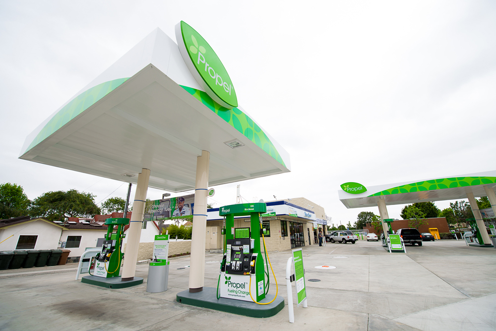 In Fullerton, Calif., Propel Fuels took an old, rundown gas station and turned it into a modern filling station that sells clean, renewable fuels. (Propel photo)